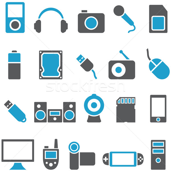 Set vector icons electronics and gadgets Stock photo © borysshevchuk