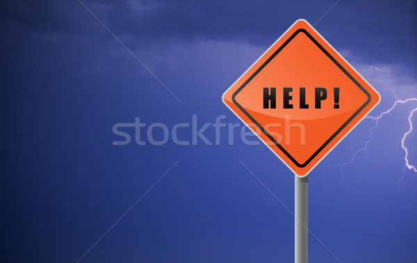 Signpost help on sky flash background. Stock photo © borysshevchuk