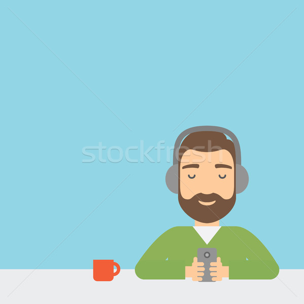 Stockfoto: Man · hoofdtelefoon · smartphone · handen · muziek · vergadering