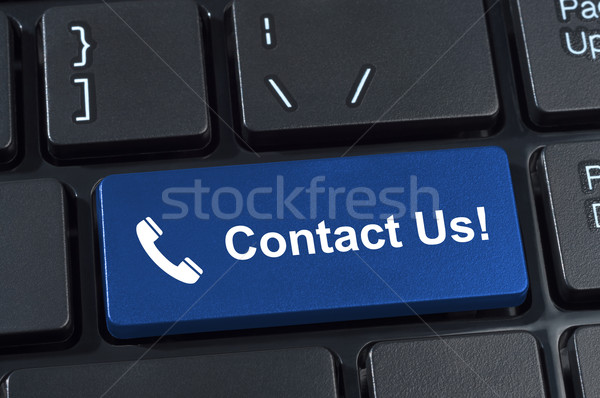 Contact Us button keyboard with icon handset. Stock photo © borysshevchuk