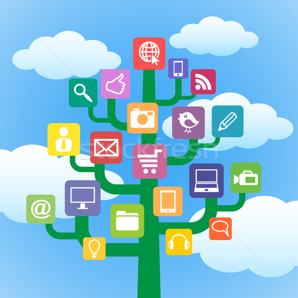 tree with icons gadgets and computer symbols. Stock photo © borysshevchuk