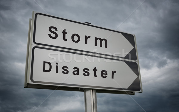 Storm Disaster road sign. Stock photo © borysshevchuk