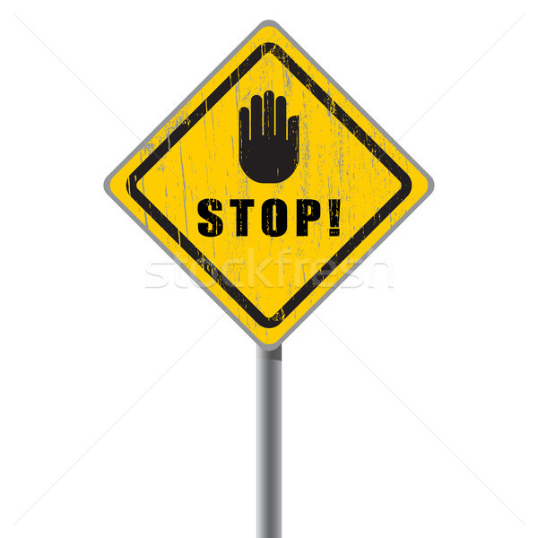 Stop scratched road sign. Stock photo © borysshevchuk