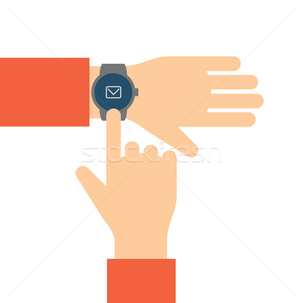 Finger touches the display smart watch. Stock photo © borysshevchuk