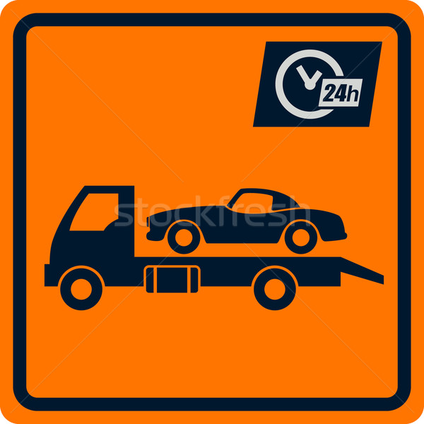 Vector sign with truck tows. Stock photo © borysshevchuk