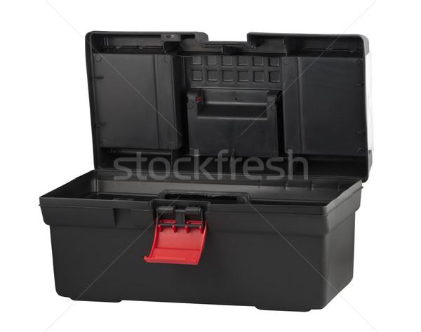 Preto plástico caixa ferramentas caixa de ferramentas abrir Foto stock © borysshevchuk