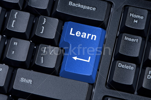 Knop leren onderwijs technologie teken Stockfoto © borysshevchuk