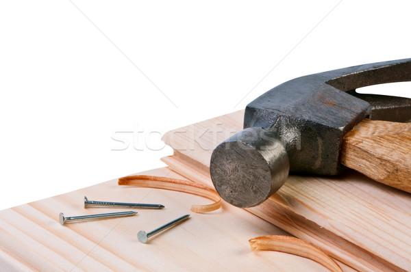 Zdjęcia stock: Młotek · paznokcie · budynku · drzewo · pracy