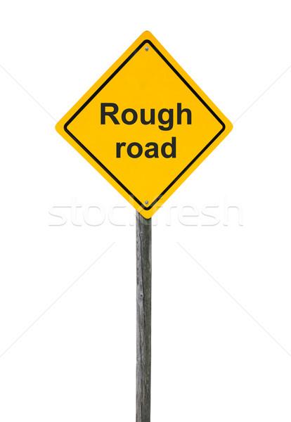 Stockfoto: Ruw · verkeersbord · geïsoleerd · witte · achtergrond · vervoer