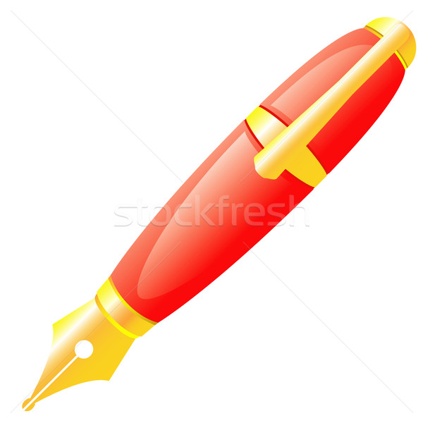 Ink pen of red colour. Stock photo © borysshevchuk