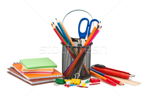 Miscellaneous office supplies on white background. Stock photo © borysshevchuk