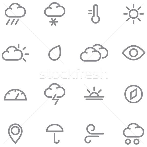 набор погода иконки простой линия Сток-фото © borysshevchuk