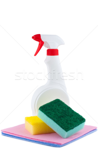 Sprayer with rags and sponge for cleaning. Stock photo © borysshevchuk