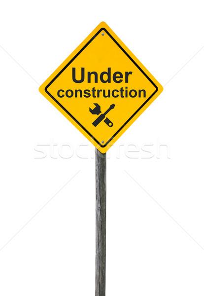 строительство дорожный знак икона инструменты изолированный белый Сток-фото © borysshevchuk