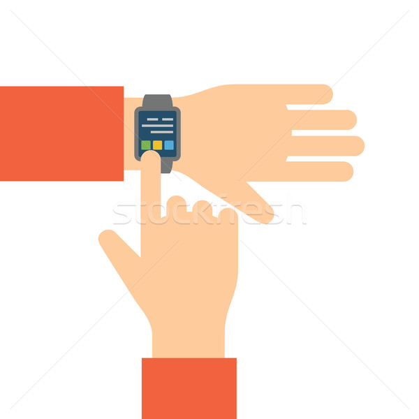 Finger touches screen smart watch. Stock photo © borysshevchuk