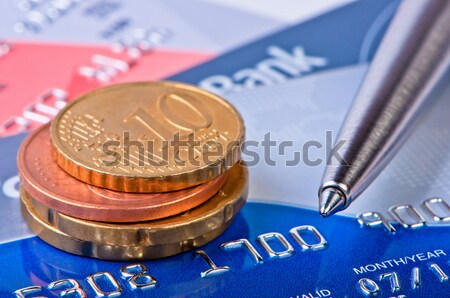 Credit cards and two coins euro cent. Stock photo © borysshevchuk