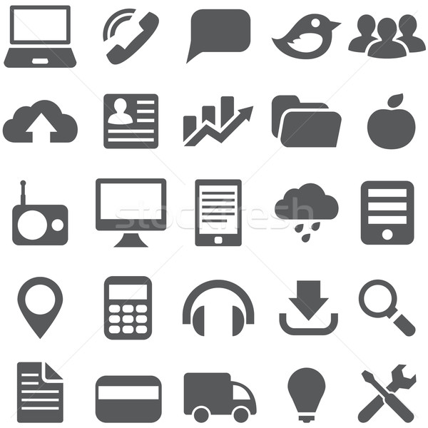 Set gray simple icons for web design. Stock photo © borysshevchuk