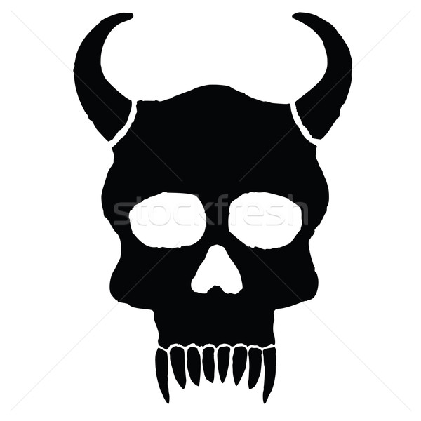モンスター 頭蓋骨 ビッグ 歯 顔 ストックフォト © borysshevchuk
