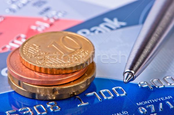 Munten creditcards pen business winkelen bank Stockfoto © borysshevchuk
