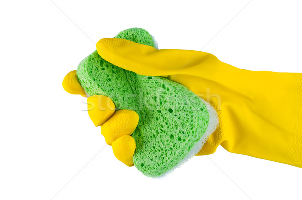 Hand in rubber glove with sponge isolated. Stock photo © borysshevchuk