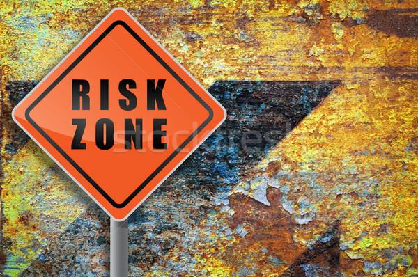 Trafik işareti risk grunge doku duvar dizayn Stok fotoğraf © borysshevchuk