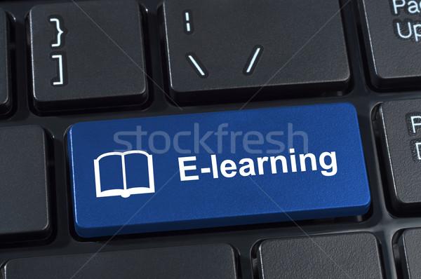 Gomb online oktatás ikon könyv internet tanul Stock fotó © borysshevchuk