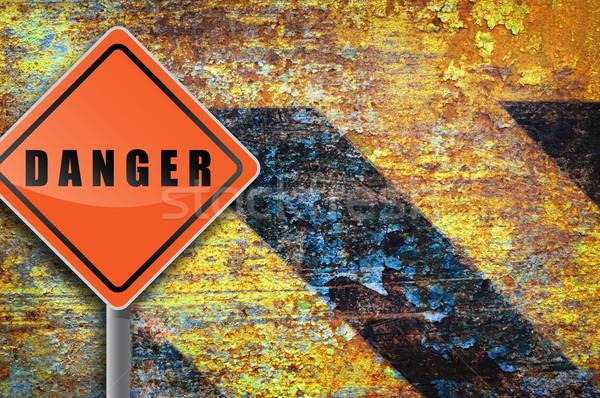 Verkeersbord gevaar roestige muur textuur ontwerp Stockfoto © borysshevchuk