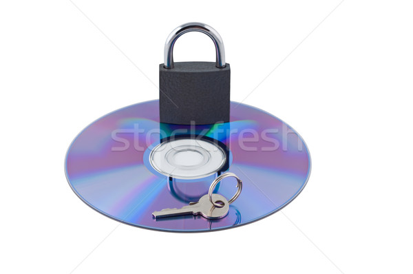 Padlock and key on cd isolated. Concept computer safety. Stock photo © borysshevchuk