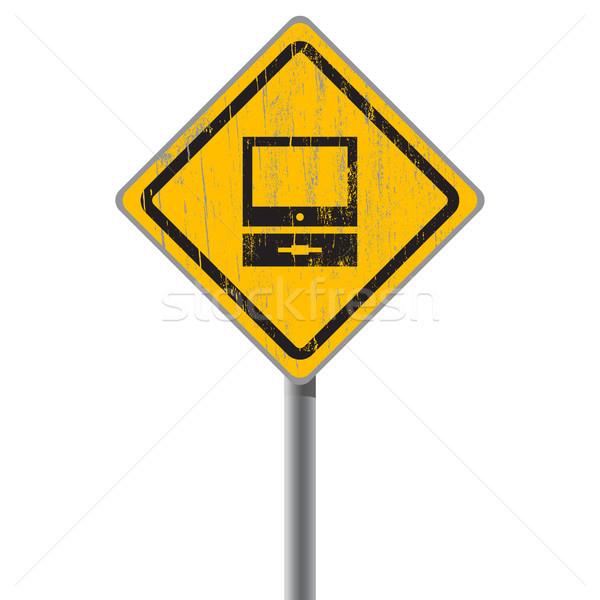 Ordinateur personnel minable signe de rue jaune ordinateur texture Photo stock © borysshevchuk