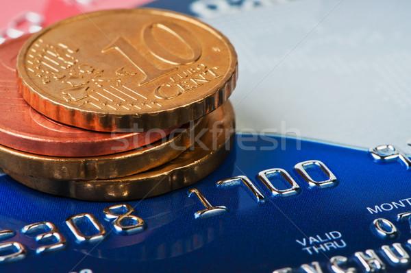 Karty kredytowe monet cent działalności zakupy banku Zdjęcia stock © borysshevchuk