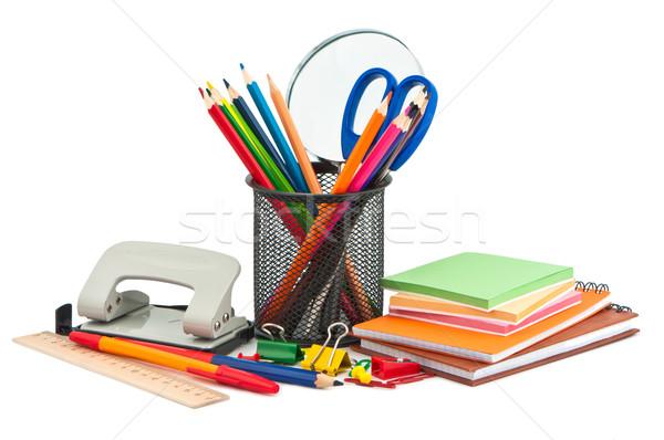 ストックフォト: 文房具 · 白 · ペン · 塗料 · 教育 · ノートブック