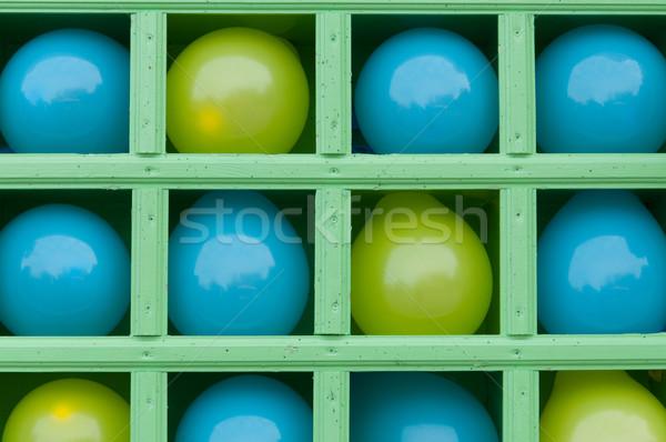 şişme balonlar raflar mavi sarı ahşap Stok fotoğraf © borysshevchuk