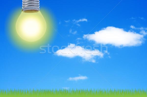 Elétrico luz céu nuvens sol Foto stock © borysshevchuk