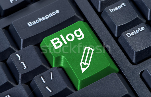 Computer green button blog with pencil, internet concept. Stock photo © borysshevchuk