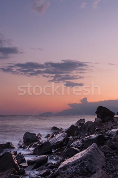 Hermosa puesta de sol mar grande playa agua Foto stock © borysshevchuk