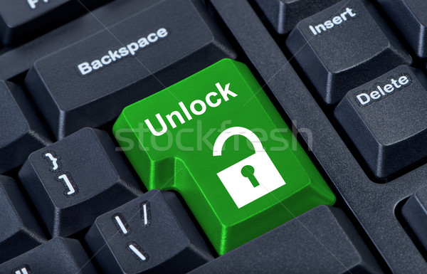 Button keypad unlock with padlock icon. Stock photo © borysshevchuk