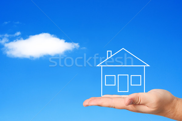 House on palm concept housing. Stock photo © borysshevchuk