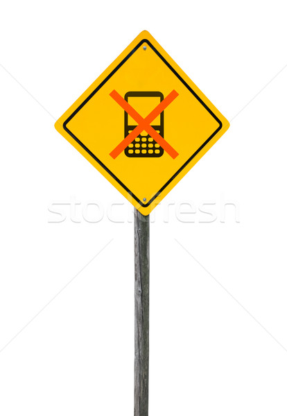Road sign with crossed cell phone. Stock photo © borysshevchuk