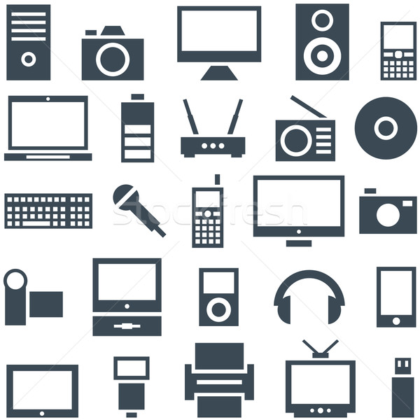 Icon set gadgets, computer equipment and electronics. Stock photo © borysshevchuk