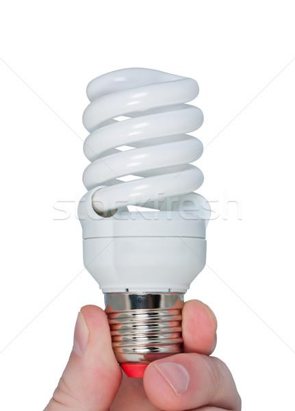 Fingers holding energy-saving electric lamp isolated on white. Stock photo © borysshevchuk