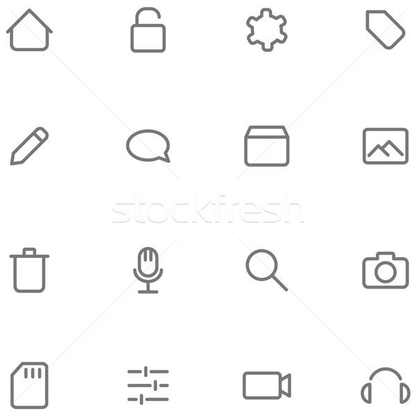 Set Vektor Symbole Multimedia Tasten Web Stock foto © borysshevchuk