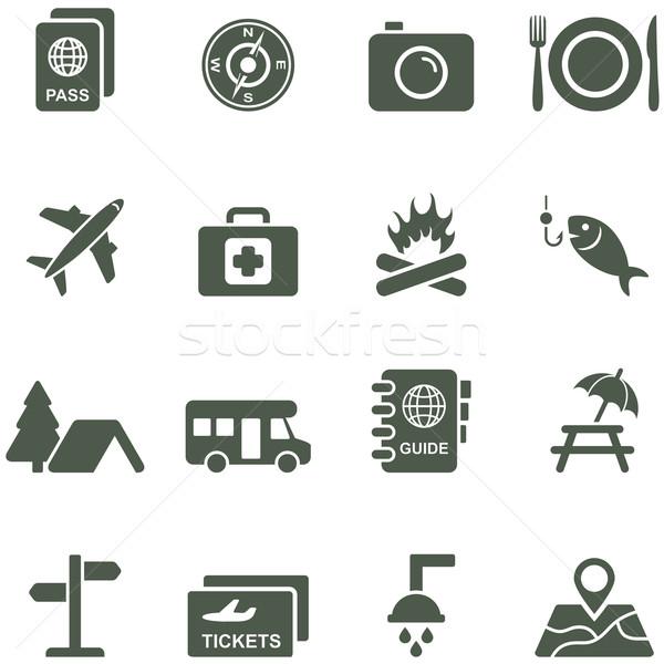 Vektor Symbole Reise Tourismus alle Elemente Stock foto © borysshevchuk