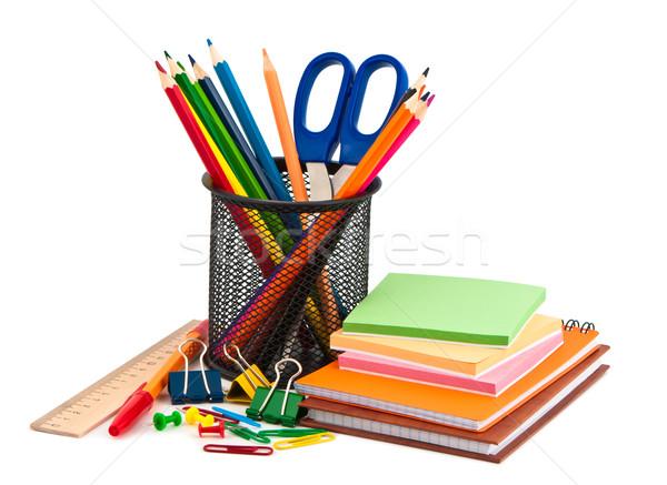 Artigos de papelaria conjunto branco caneta pintar fundo Foto stock © borysshevchuk