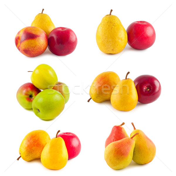 Set fruit apples and pears on white background. Stock photo © borysshevchuk