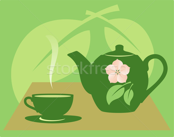Theepot groene bloem bladeren ontwerp Stockfoto © borysshevchuk