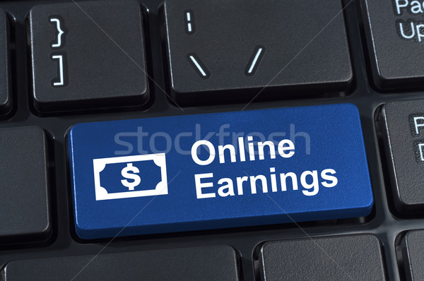 Online earnings computer keyboard button. Stock photo © borysshevchuk