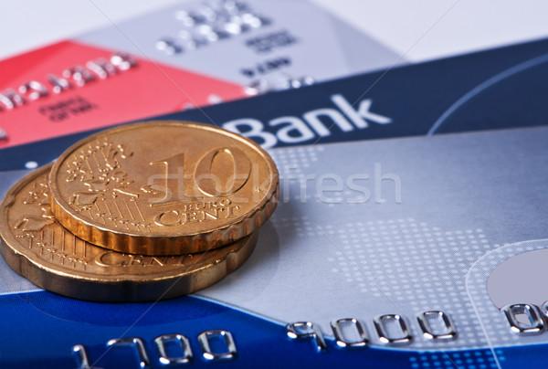 кредитные карты монетами евро цент макроса деньги Сток-фото © borysshevchuk