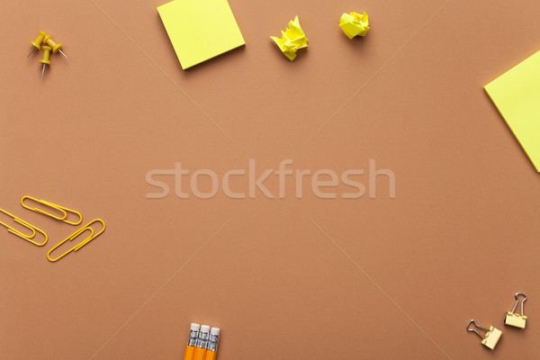 School Accessories on Brown Background Stock photo © Bozena_Fulawka