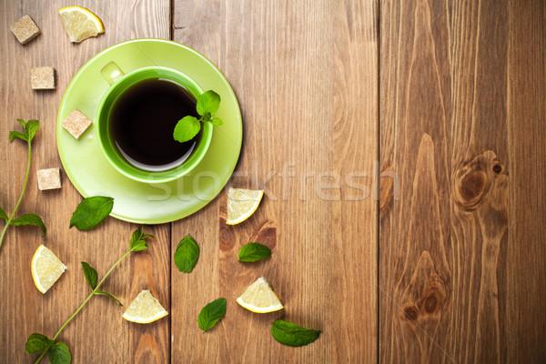 Tea menta levelek cukor citrom asztal Stock fotó © Bozena_Fulawka