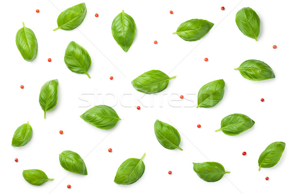 Basil Leaves with Red Peppercorns Isolated on White Background Stock photo © Bozena_Fulawka